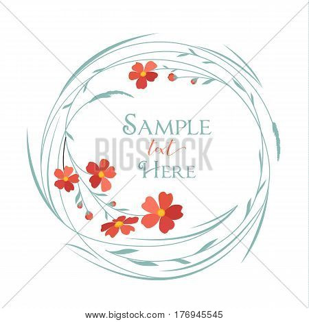 Vector illustrations floral circle with grass and red flowers