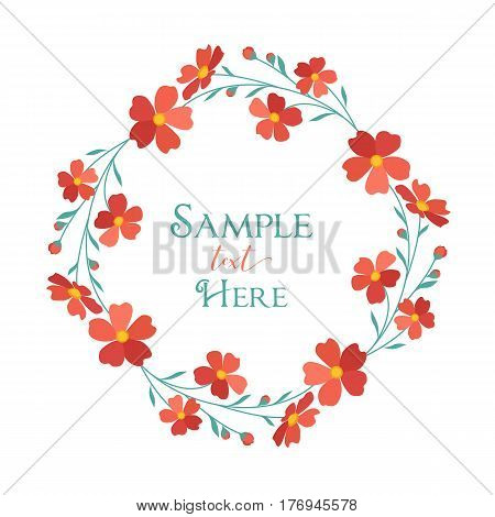 Vector illustrations wreath red flowers with place for text