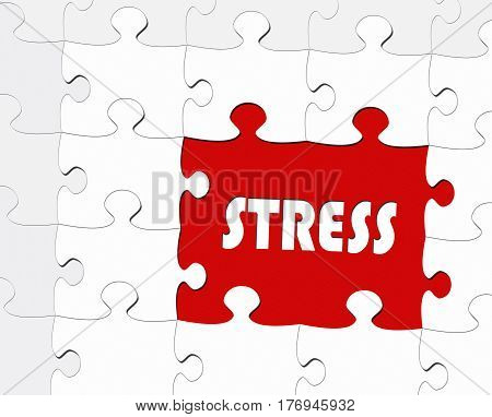 Stress - puzzle illustration with text and red color