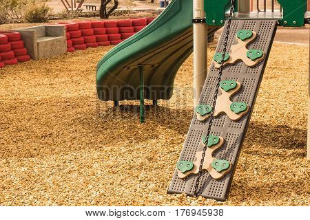 Children's Climbing Ramp With Chain Attached To Playset