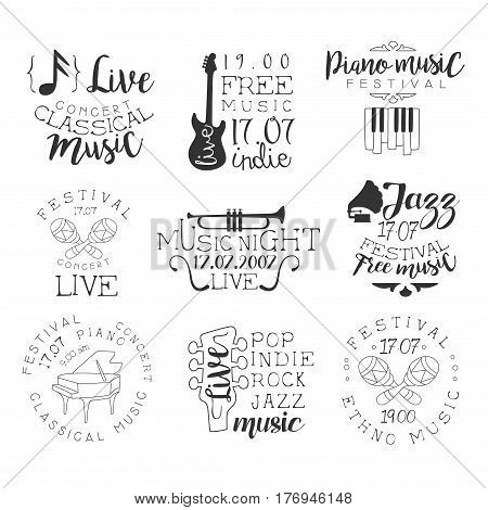 Live Music Hand Drawn Banner Set Of Artistic Decorative Vector Design Writing