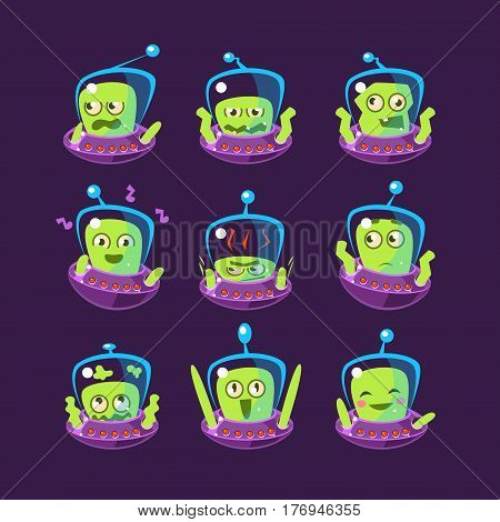 Alien In Ufo Emoji Set Of Simplified Cartoon Character Stickers Isolated On Dark Background