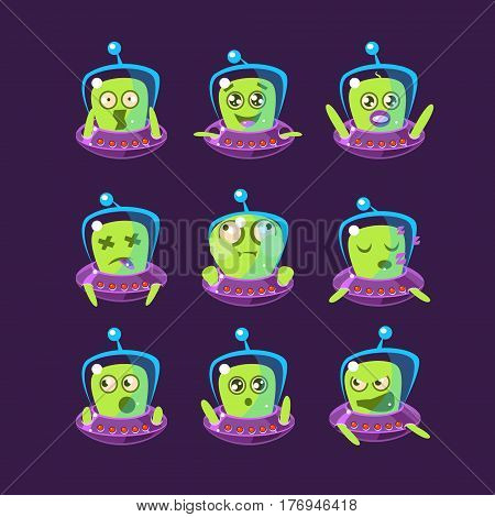 Alien In Ufo Emoticon Set Of Simplified Cartoon Character Stickers Isolated On Dark Background