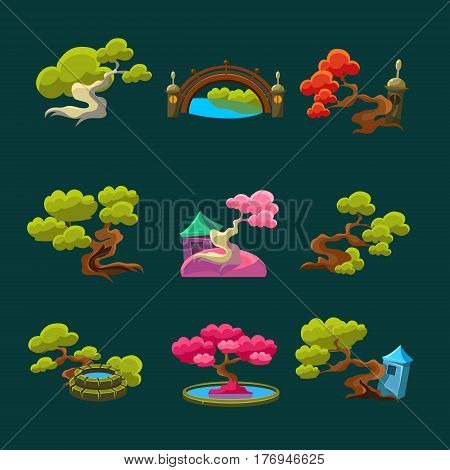 Japanese Style Trees Set Of Isolated Bright Color Simplified Traditional Style Vector Images On Dark Background