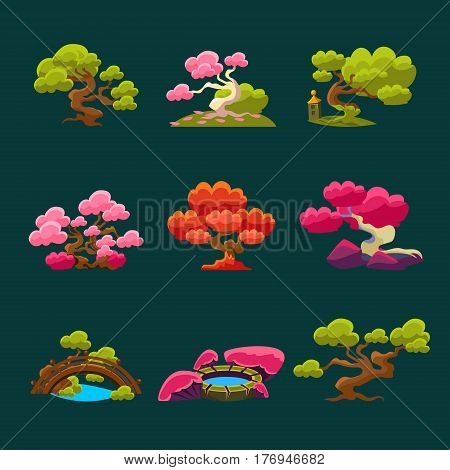 Trees In Japanese Style Set Of Isolated Bright Color Simplified Traditional Style Vector Images On Dark Background