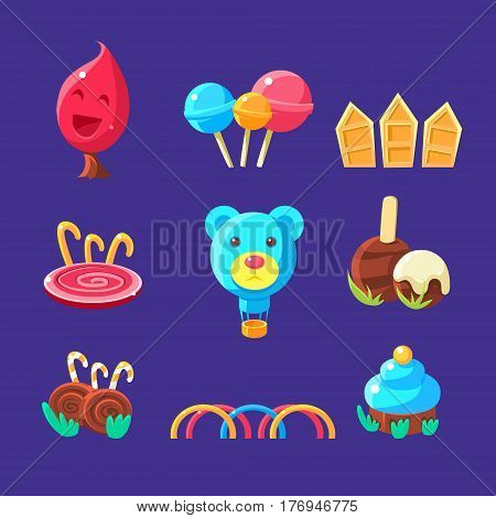 Plants And Landscape Elements Made Of Sweets Set Of Isolated Bright Color Childish Cartoon Style Illustrations On Blue Background