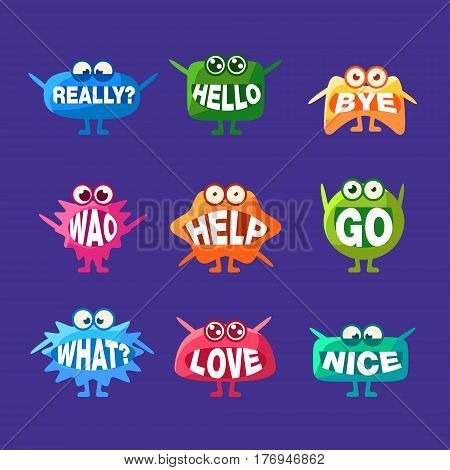 Monster With Words In Mouth For Teeth Collection Of Funny Cartoon Emoticon Character Sticker Isolated On Blue Background