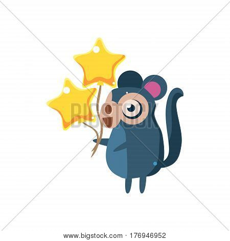Monkey Party Animal Icon In Primitive Funny Flat Cartoon Style Isolated On White Background