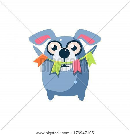 Dog Party Animal Icon In Primitive Funny Flat Cartoon Style Isolated On White Background