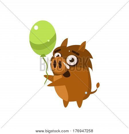 Wild Pig Party Animal Icon In Primitive Funny Flat Cartoon Style Isolated On White Background