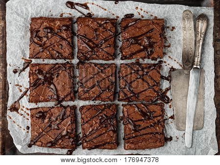 Brownie. Homemade Cake With Chocolate And Caramel. American Dessert. Top View