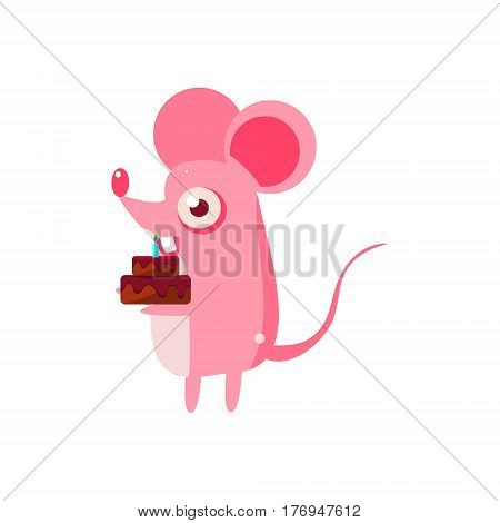 Mouse Party Animal Icon In Primitive Funny Flat Cartoon Style Isolated On White Background