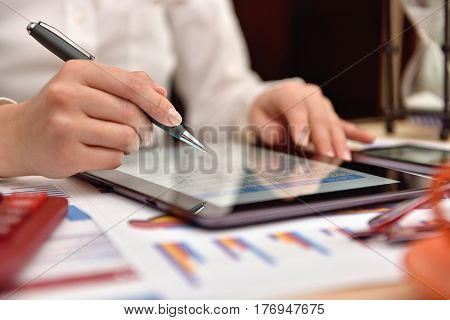 Accountant Woman Analyzing Income Data