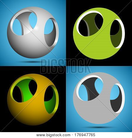 set of smoothed 3D sphere with openings