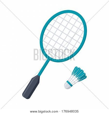 Badminton racket and shuttlecock, vector illustration in flat style