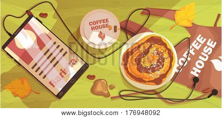 Coffee Shop Table Outdoors With Barista Apron, Smartphone And Cappuccino. Cool Colorful Vector Illustration In Stylized Geometric Cartoon Design