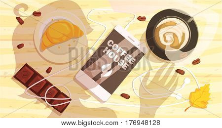 Coffee Shop Table Outdoors With Smartphone, Cappuccino And Woman Shadow. Cool Colorful Vector Illustration In Stylized Geometric Cartoon Design
