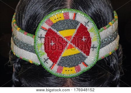 Closeup of a Beaded Native American Headband
