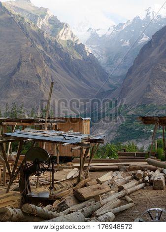 A local lumberyard sits in a Himalayan valley in the small town of Karimabad, Pakistan