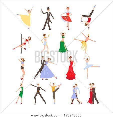 Dance festival, different dance styles, flat icon set isolated vector illustration