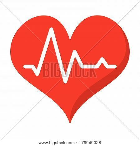 Heartbeat or pulse, vector icon in flat style