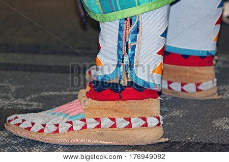 Suede Red and White Beaded Native American Moccasins
