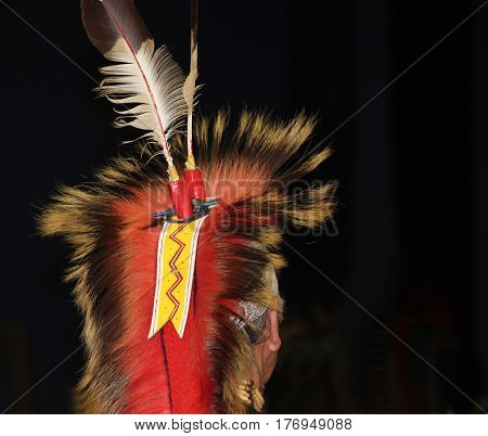 Native American Red and White Feathered Headdress at Powwow