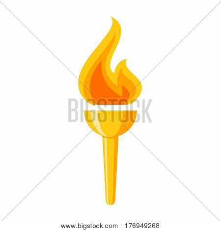 Golden torch, vector icon in flat style