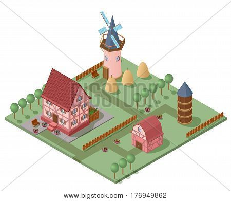 Isometric farming concept with house mill barn trees plants fence and hay bales vector illustration