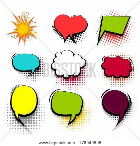 Comic funny collection empty colored cloud pop art vector heart shape. Big set colorful message bubble speech for comic cartoon expression illustration. Comics book background template.