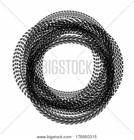 Different tire track silhouettes in circle form isolated on white background