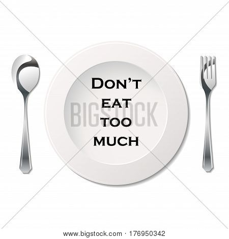 Silhouette of fork, spoon and plate with demotivation slogan poster