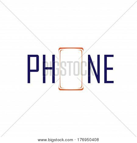 Abstract mobile phone silhouette with word isolated on white background