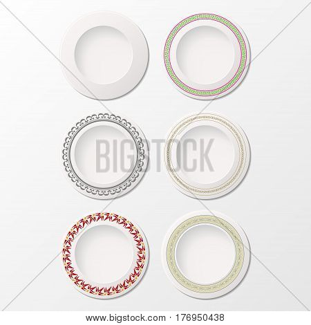 Set of six white plates with different ornaments