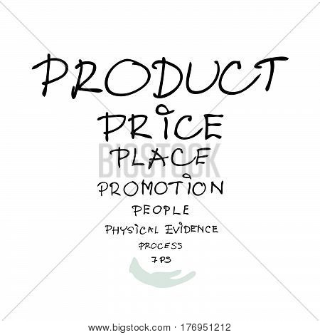 Business Concepts 7Ps Model or Marketing Mix Process for Management Strategy with Product Promotion Place Price Physical Evidence People and Process . A Foundation Concept in Marketing.
