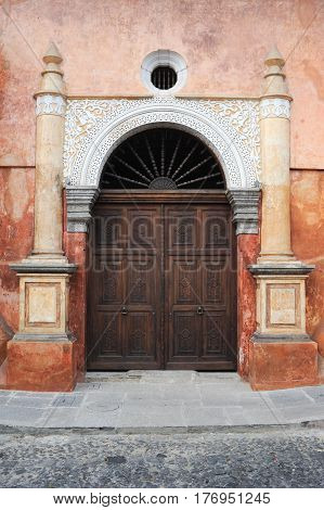 Antigua, Guatemala - 2 February 2014: Entrance door at Antigua on Guatemala