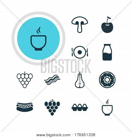 Vector Illustration Of 12 Cooking Icons. Editable Pack Of Cake, Fungus, Vineyard And Other Elements.