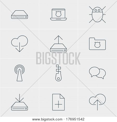 Vector Illustration Of 12 Network Icons. Editable Pack Of Fastener, Information Load, Data Upload And Other Elements.