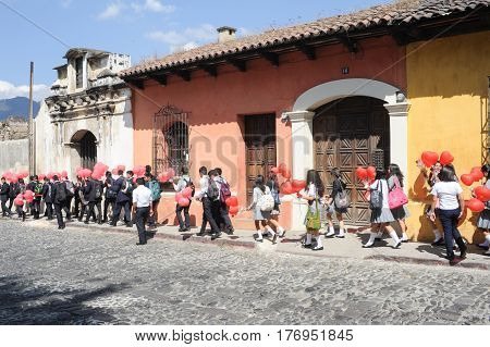 Antigua, Guatemala - 2 February 2014: Valentin's day at Antigua on Guatemala