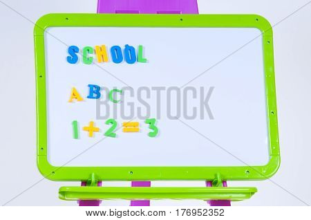 Magnetic board with abacus isolated on white - rendering.