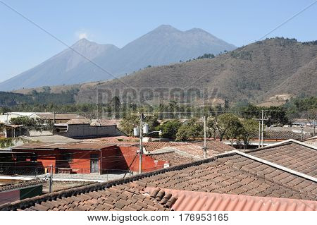 Antigua, Guatemala - 3 February 2014: Vulconos Fuego and Acatenango near Antigua on Guatemala