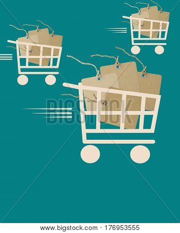 Big Sale background with cardboard price labels in shopping cart
