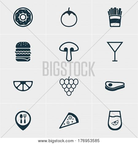 Vector Illustration Of 12 Cooking Icons. Editable Pack Of Fungus, Potato, Martini And Other Elements.