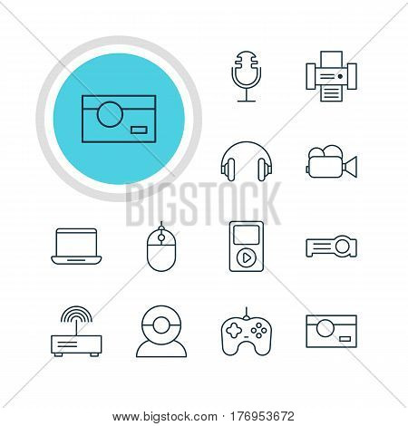 Vector Illustration Of 12 Hardware Icons. Editable Pack Of Camcorder, Video Chat, Media Controller And Other Elements.