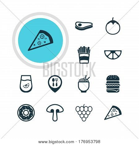 Vector Illustration Of 12 Cuisine Icons. Editable Pack Of Pizzeria, Juice, Potato And Other Elements.