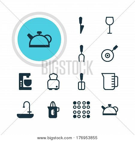 Vector Illustration Of 12 Kitchenware Icons. Editable Pack Of Skillet, Kitchen Dagger, Cooking Spade And Other Elements.