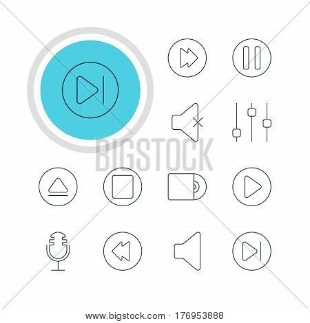 Vector Illustration Of 12 Music Icons. Editable Pack Of Start, Rewind, Advanced And Other Elements.
