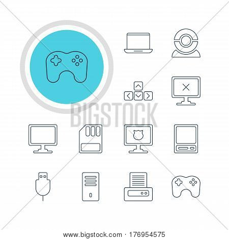 Vector Illustration Of 12 Laptop Icons. Editable Pack Of Web Camera, Screen, Gamepad And Other Elements.