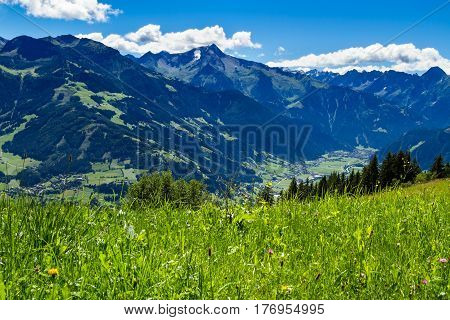 Mountain view with green meadow in foreground. Zillertal High Road Austria Tyrol
