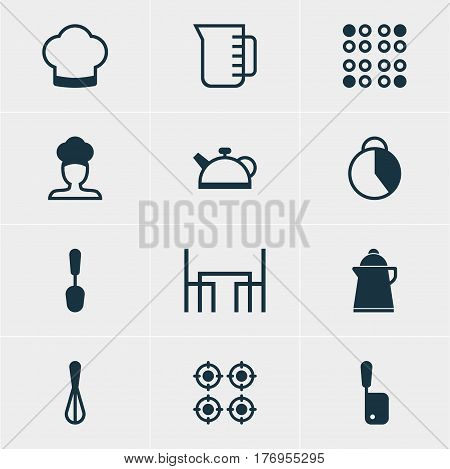 Vector Illustration Of 12 Restaurant Icons. Editable Pack Of Cooker, Tablespoon, Cook And Other Elements.